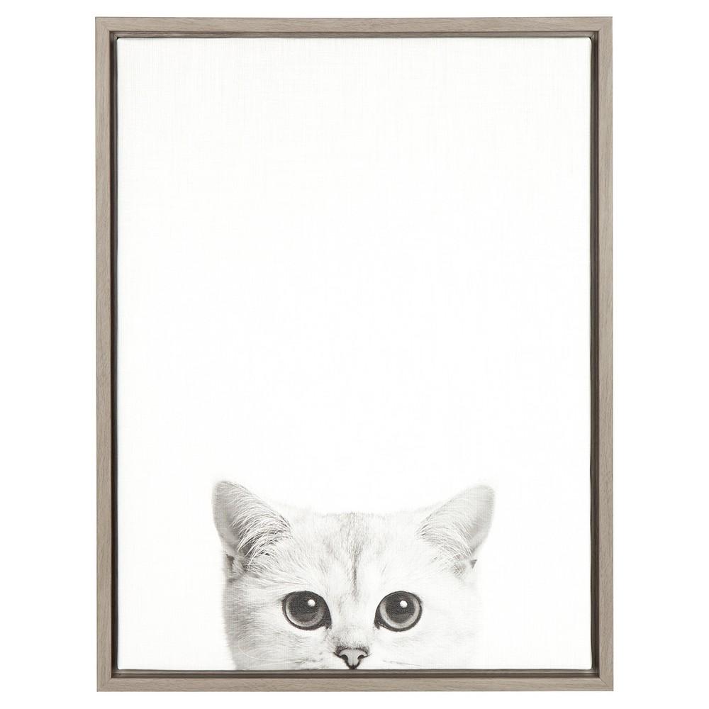 24 34 X 18 34 Kitty Framed Canvas Art Gray Uniek