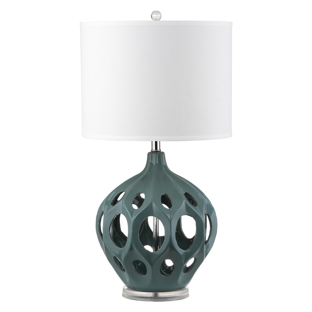 Regina Ceramic Table Lamp - Teal - Safavieh, Blue/White