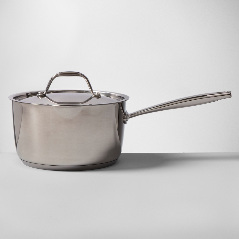 Stainless Steel Covered Saucepan 3qt - Made By Design, Silver