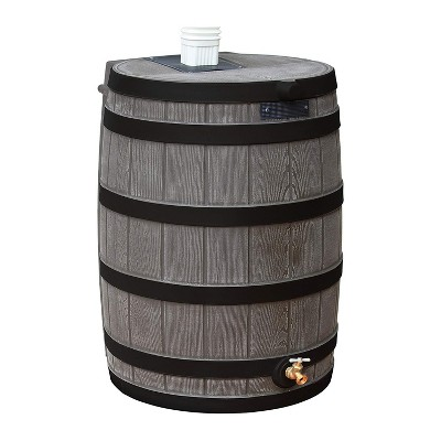 Good Ideas Rain Wizard Water Storage Rain Collection Barrel 40-Gallon Darkened Ribs, Oak