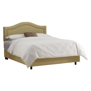 Skyline Furniture Merion Inset Nailbutton Bed - Sandstone (Queen) - Skyline Furniture , Brown