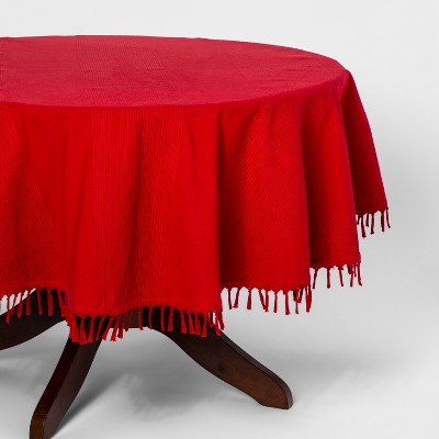 70 R Casual Texture Stripe Tablecloth Red - Threshold™