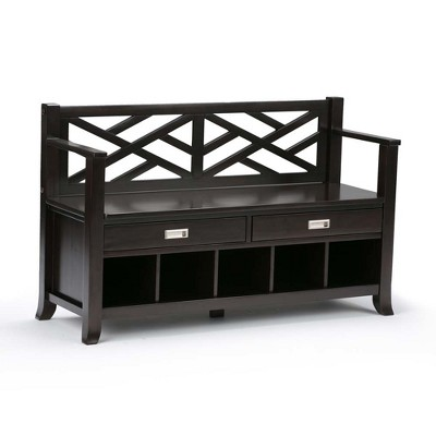 "48"" Lancaster Solid Wood Entryway Storage Bench with Drawers and Cubbies Espresso Brown - WyndenHall"