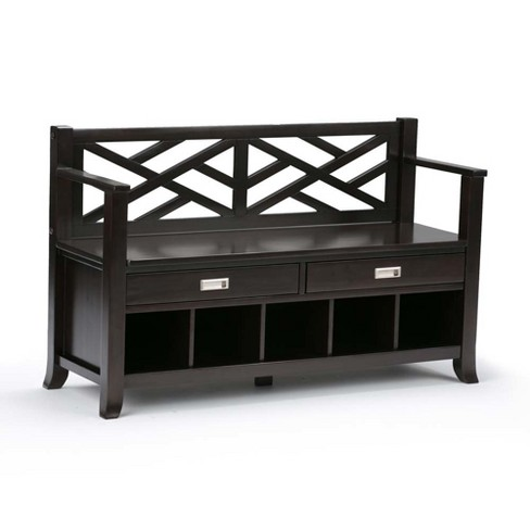 Awesome Lancaster Solid Wood Entryway Storage Bench With Drawers And Cubbies Espresso Brown Wyndenhall Ncnpc Chair Design For Home Ncnpcorg