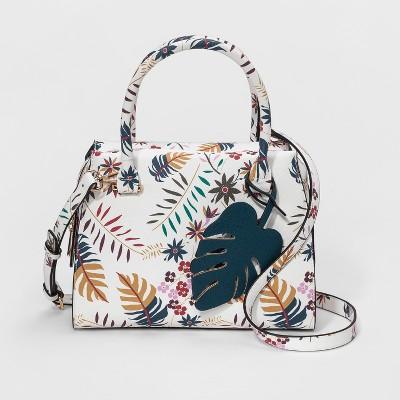 Printed Saffiano Satchel Handbag - A New Day™ White Floral