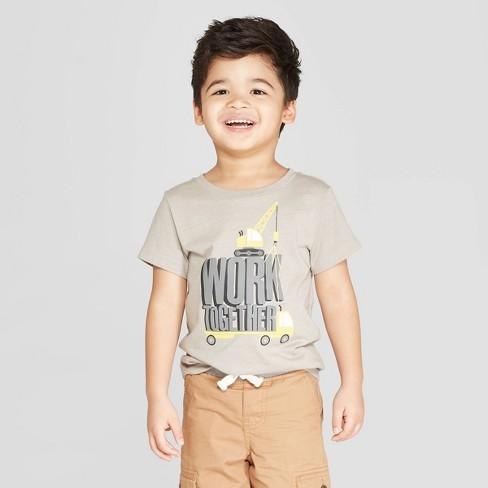 Toddler Boys' Short Sleeve Construction Trucks Work Together T-Shirt - Cat & Jack™ Sleek Gray - image 1 of 3