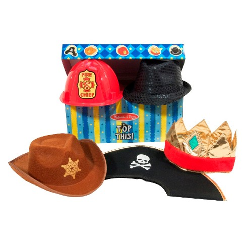 Melissa & Doug® Top This! Dress-Up Hats Role Play Costume Collection - 5, Including Cowboy, Pirate - image 1 of 7