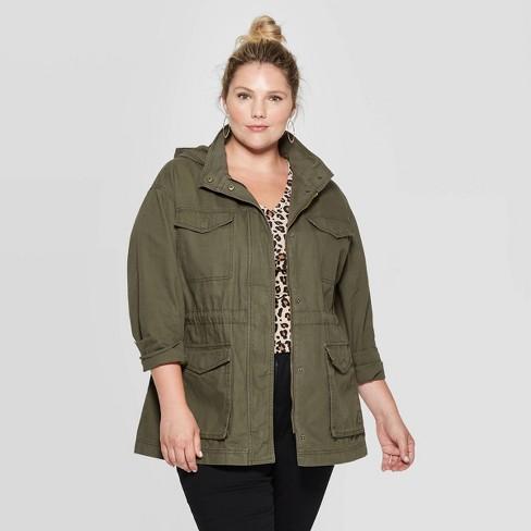 Women's Plus Size Utility Anorak Jacket - Ava & Viv™ - image 1 of 2