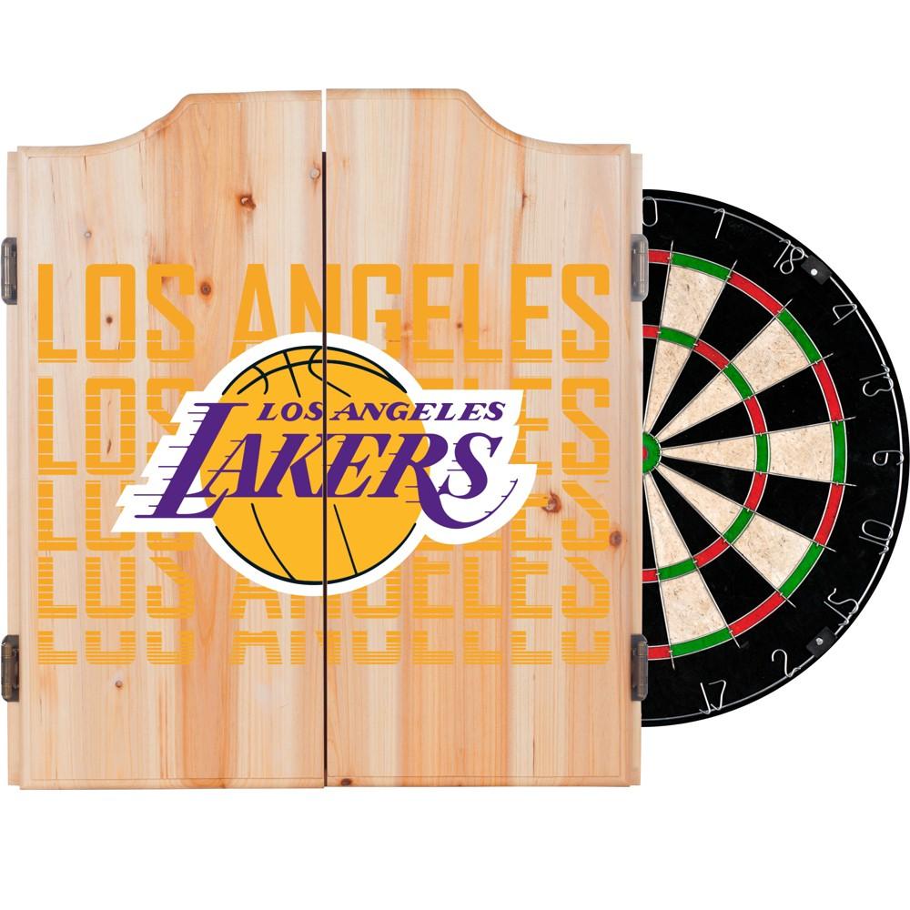 NBA Los Angeles Lakers Dart Cabinet Set with Darts and Bristle Dart Board
