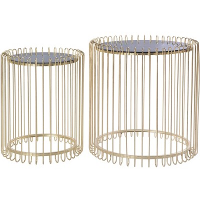 Bold Tones Set of 2 Modern Round Gold Metal End Table Set with Smoked Glass Top