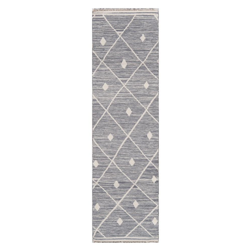 Image of 2'3X8' Geometric Woven Runner Gray - Erin Gates By Momeni