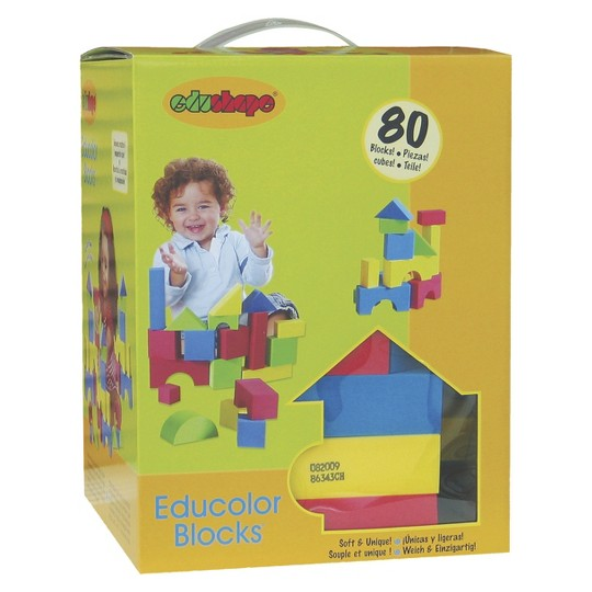Edushape Edu-Color - 80 pc Firm Foam Blocks image number null