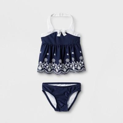 Baby Girls' Floral Bow Tankini Set - Cat & Jack™ Navy 9M