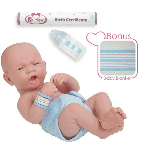 "JC Toys La Newborn 14"" Anatomically Correct Real Boy Baby Doll - ""First Yawn"". Made in Spain - image 1 of 4"