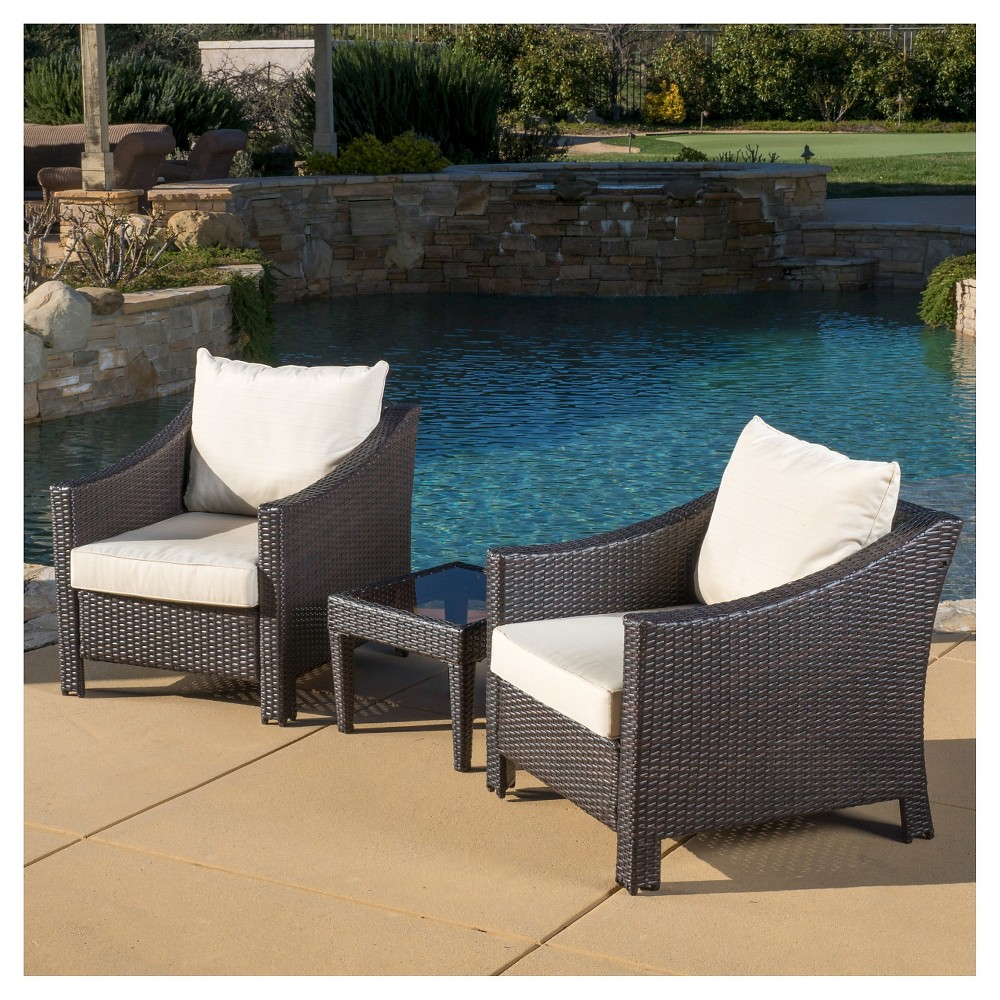 Antibes 3pc Wicker Patio Bistro Set with Cushions - Brown - Christopher Knight Home