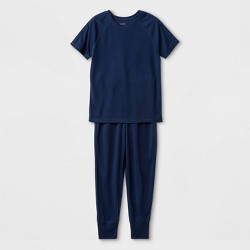 Kids' Adaptive Pajama Set - Cat & Jack™ Navy
