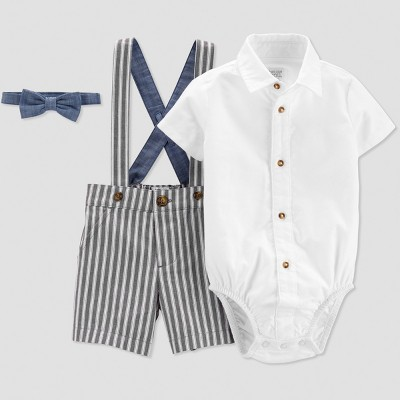 Baby Boys' Stripe Shortall Set - Just One You® made by carter's Blue/White 3M