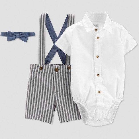 1fbfad5f74f9 Baby Boys  Stripe Shortall Set - Just One You® Made By Carter s Blue ...