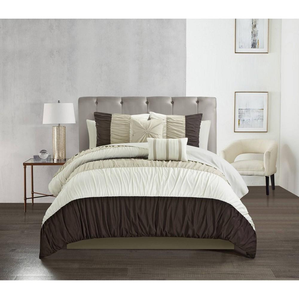 King 9pc Fae Comforter Set Brown Chic Home Design
