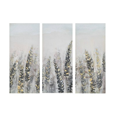"""(Set of 3)15"""" x 35"""" Emmer Fields Printed Canvas with Gold Foil"""