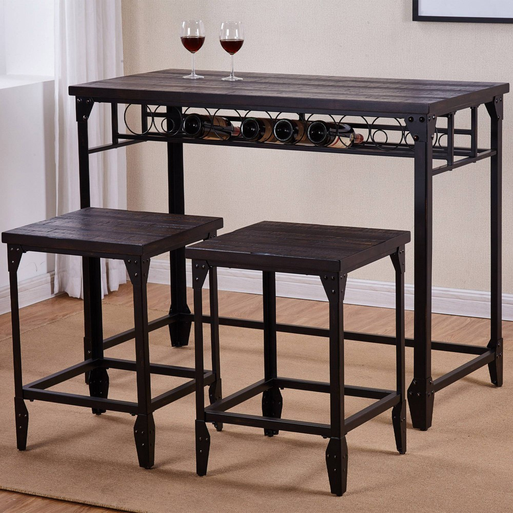 Image of 3pc Sherlock Counter Height Dining Set Distressed Tobacco - Steve Silver
