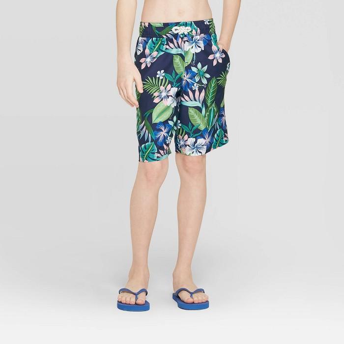 Boys' Floral Swim Trunks - Cat & Jack™ Blue - image 1 of 3