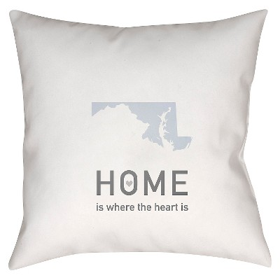 White Homebound Maryland Throw Pillow 18 x18  - Surya
