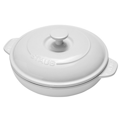 Staub Ceramics 8-inch Round Covered Brie Baker - White