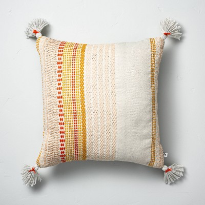 """18"""" x 18"""" Woven Décor Multistripe Indoor/Outdoor Throw Pillow Yellow - Hearth & Hand™ with Magnolia"""