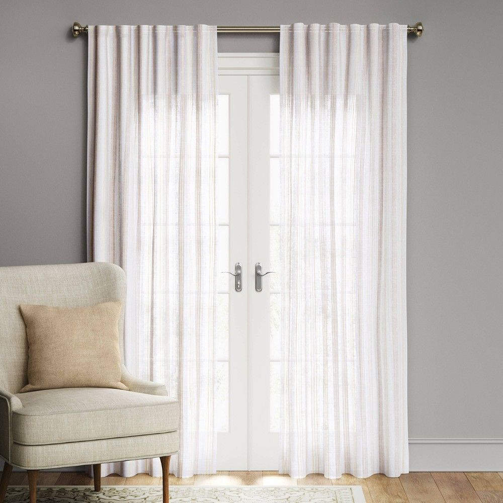 63 34 X54 34 Simple Striped Window Curtain Panel White Beige Threshold 8482