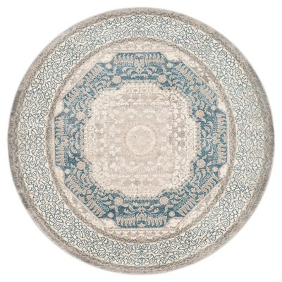 "Light Gray/Blue Abstract Loomed Round Area Rug - (6'7"" Round)- Safavieh"