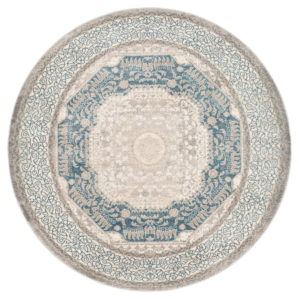 Light Gray/Blue Abstract Loomed Round Area Rug - (6'7 Round) - Safavieh
