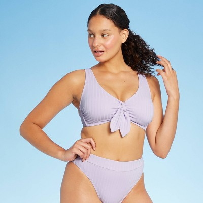 Juniors' Ribbed Tie-Front Longline Triangle Bikini Top - Xhilaration™ Lilac