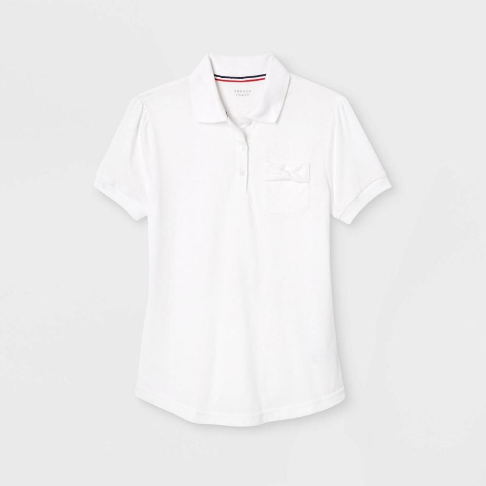 Image of French Toast Girls' Bow Pocket Uniform Jersey Polo Shirt - White M, Girl's, Size: Medium