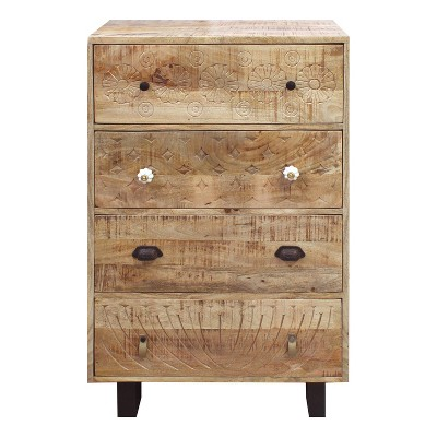4 Drawer Handmade Wooden Accent Chest with Carved Drawer Front Brown/Black - The Urban Port