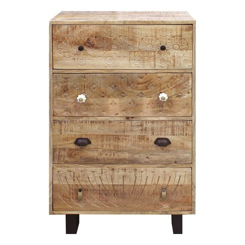 4 Drawer Handmade Wooden Accent Chest with Carved Drawer Front Brown/Black - The Urban Port - image 1 of 4