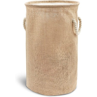 """Juvale Large Collapsible Woven Jute Fabric Round Laundry Hamper, Tall Drawstring Blanket Storage Basket with Lid & Handle, Brown 13.4""""x22"""""""