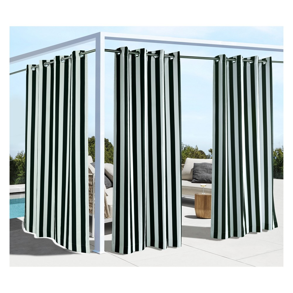 """Image of """"50""""""""x108"""""""" Coastal Stripe Grommet Top Blackout Curtain Panel Black - Outdoor Décor, Size: 50x108"""""""
