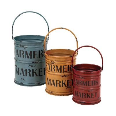 Set of 3 Farmhouse Distressed Metal Planters with Handles - Olivia & May