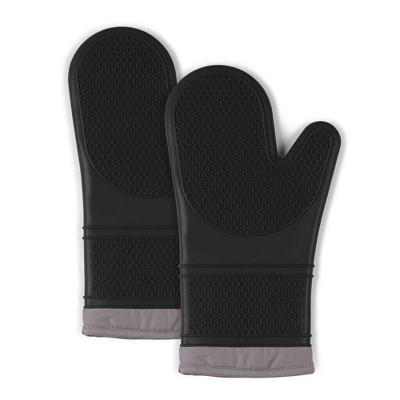 2pk Silicone Oven Mitts Black - Town & Country Living