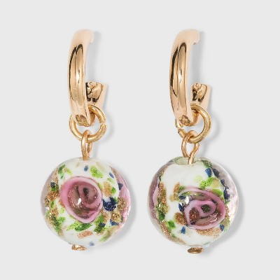 Floral Beaded Charm Hoop Earrings - A New Day™