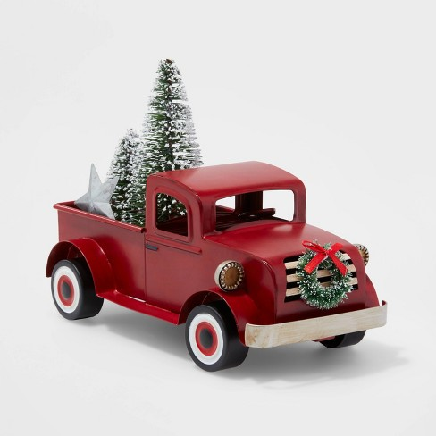 Small Truck With Christmas Tree Decorative Figure Red Wondershop