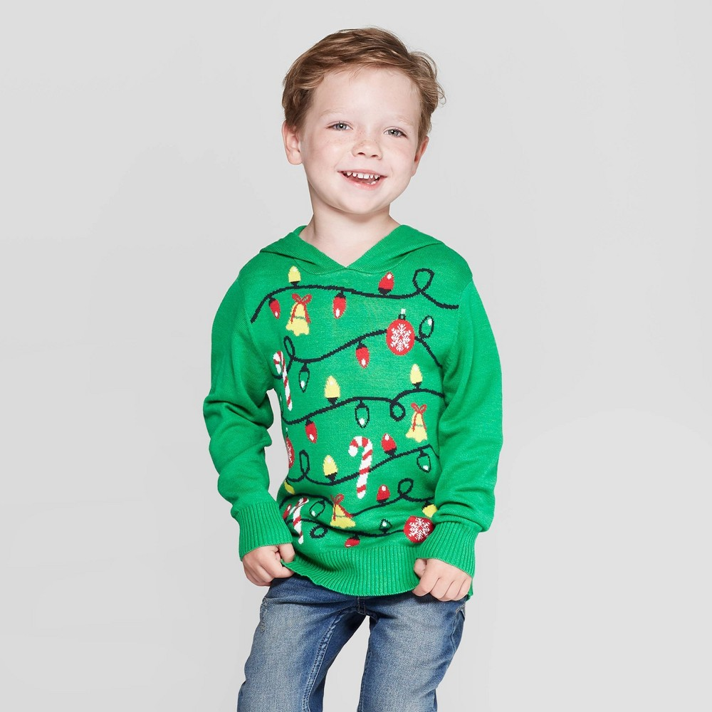 Image of Toddler Boys' Tree Hoodie Ugly Holiday Sweater - Green 12M, Boy's