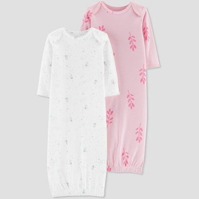 Baby Girls' 2pk Owl Organic Cotton Gowns - Little Planet by Carter's Pink Newborn