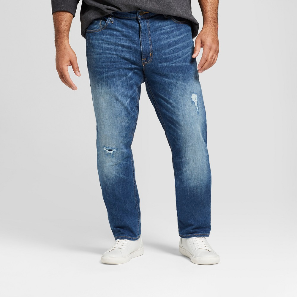 Men's Tall Slim Straight Fit Jeans with Patches - Goodfellow & Co Vintage Dark Wash 36x36, Blue