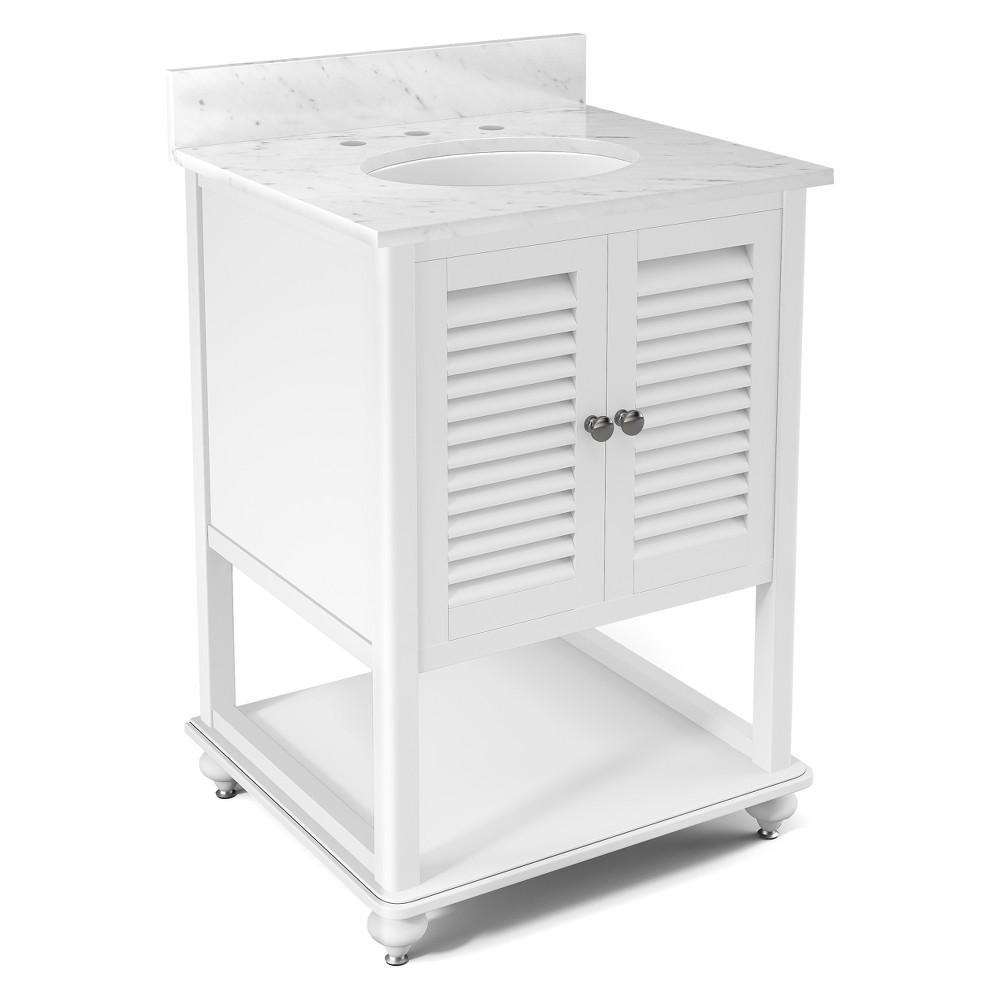 Tahiti Beige Marble Sink Top Set Bath Vanity Cabinet White 25 - Alaterre Furniture