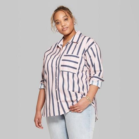 06fe6bb2601 Women s Plus Size Striped Long Sleeve Oversized Button-Down Shirt - Wild  Fable™ Paris Pink