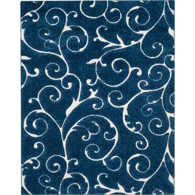 "9'6""x13' Swirl Loomed Area Rug Dark Blue/Cream - Safavieh"