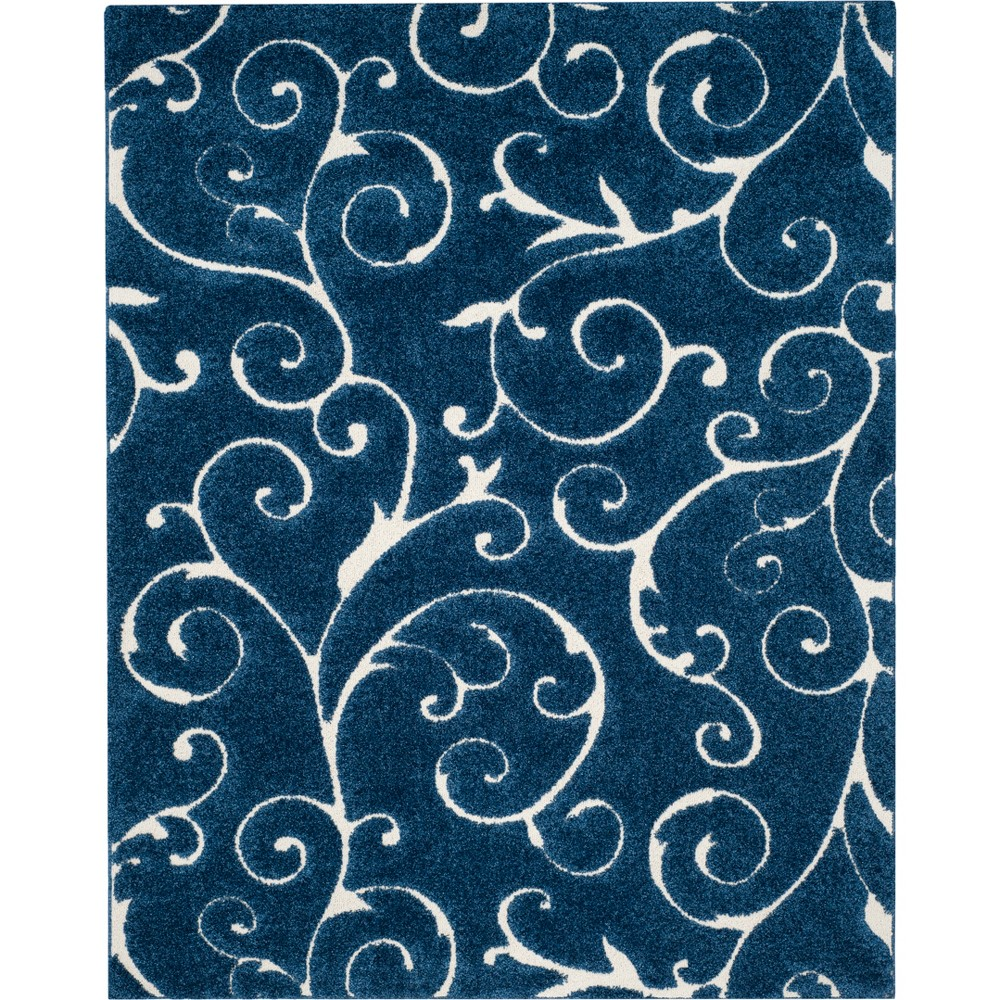 9'6X13' Swirl Loomed Area Rug Dark Blue/Cream (Dark Blue/Ivory) - Safavieh