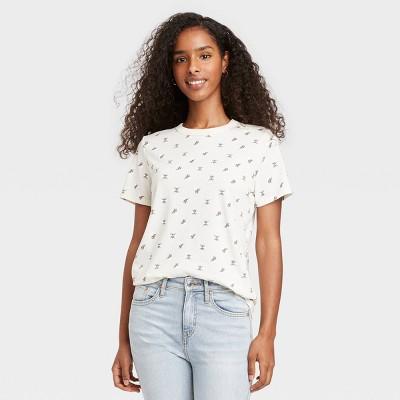 Women's Bee Print Short Sleeve Graphic T-Shirt - Off-White